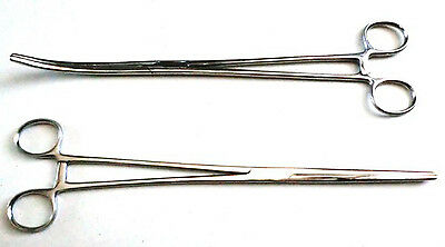 "New 2pc Set 8"" Straight + Curved Hemostat Forceps Locking Clamps Stainless"
