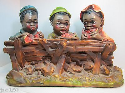 Antique Black Americana Chalkware Three Boys Eating Watermelon by Fence - Large