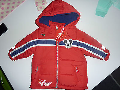 DISNEY Gorgeous Little Mickey Mouse Red Hooded Coat Up to 3 Months NWT