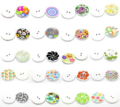 100PCs Mixed 2 Holes Wood Painting Sewing Buttons Scrapbooking 40mm Dia.B21089