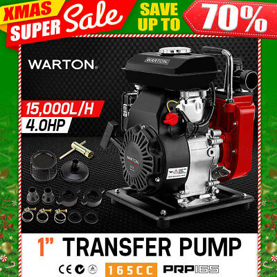 "NEW WARTON 1"" Portable Petrol High Pressure Flow Water Transfer Pump Irrigation"