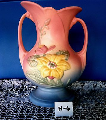 Antique Hull Art Pottery Magnolia Matte Double Handle Vase, # 3  8 1/2""