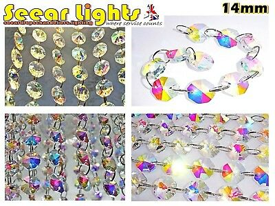 100 Ab Aurora Borealis Chandelier Crystals Droplets Cut Glass Bead Wedding Drops