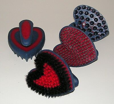 Set of 3 Heart Shaped Grooming brushes Body Brush, Mane/Tail Brush, Curry Comb