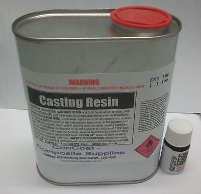 Clear Casting Resin - 1kg kit (incl. MEKP) - (FREIGHT PER DESCRIPTION)