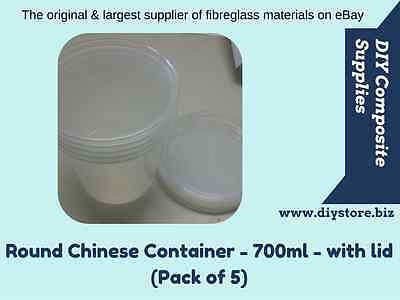 Round Chinese Container - 700ml - with lid (Pack of 5) - (FREE FREIGHT)