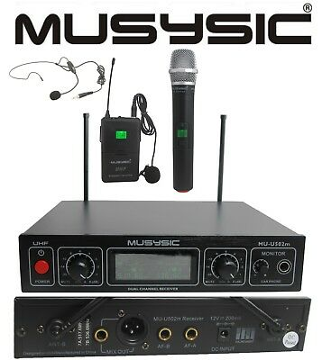MUSYSIC Dual Channel UHF Wireless Microphone System Handheld & Lapel / Headset