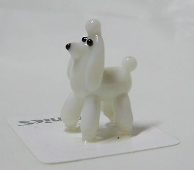 PIT Poodle White dog TYNIES Tiny Glass Figure Figurines Collectibles 0047