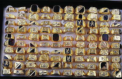 Wholesale 12pcs Gold Plated Men's Fashion Rhinestone Rings Mixed In Box Jewelry