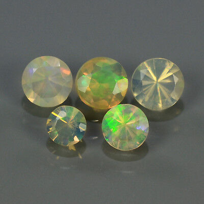 """Natural 5pcs 0.65ct Lot Round Red-Orange & Rainbow """"Play Of Colour"""" OPAL #300831"""