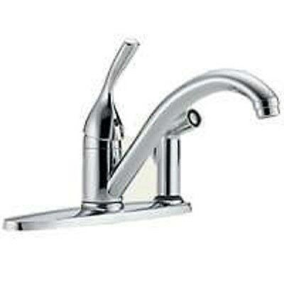 NEW DELTA 300-DST USA MADE SINGLE HANDLE KITCHEN FAUCET LEVER CHROME WITH SPRAY