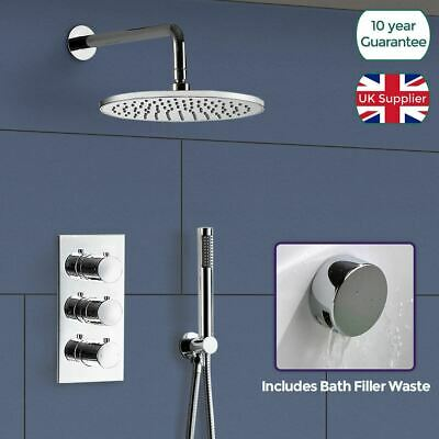 Square 3 Dial 2 Way Bathroom Concealed Thermostatic Shower Mixer Valve Tap