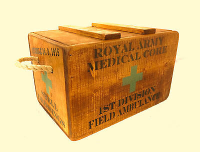 Vintage antiqued wooden box, crate, First World War Field Ambulance Box