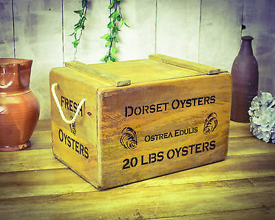 Vintage antiqued wooden box, crate, Dorset Oyster Storage Chest