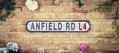 Vintage Wood LONDON street road sign,  ANFIELD RD L4