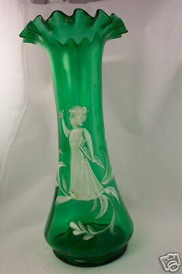 Antique Mary Gregory Quarkman Bohemian Green Glass Vase