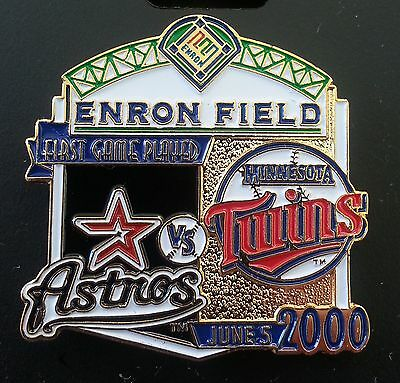 HOUSTON ASTROS vs MINNESOTA TWINS First Game Played ENRON FIELD Lapel Pin