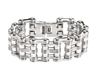 "8.5"" Stainless Steel Bike Chain Bracelet  Double Link Roller Unique Design"