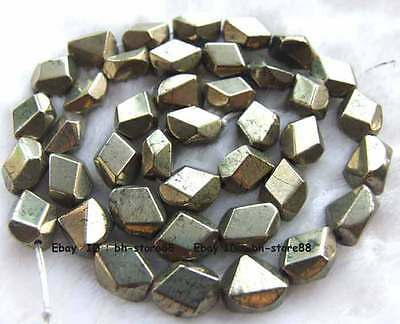 5x8x10mm Beautiful Pyrite flat freeform faceted loose Beads 15''