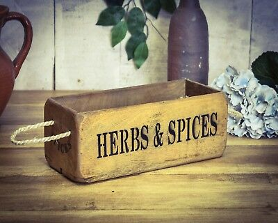 Vintage antiqued wooden box, crate, trug,  SMALL BOX,  Herbs & Spices