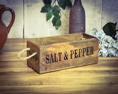 Vintage antiqued wooden box, crate, trug,  SMALL BOX,  Salt & Pepper