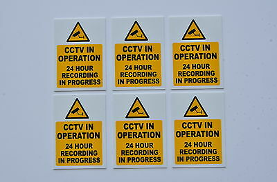 6 x CCTV In Operation 24 Hour Recording In Progress Camera Signs/Stickers 70x50