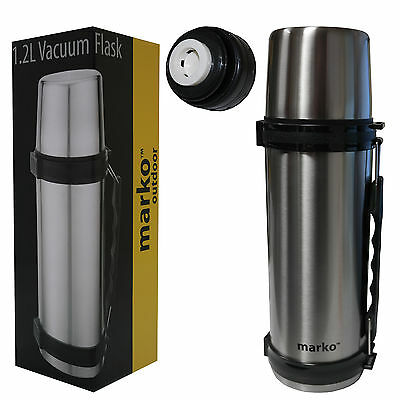 1.2L Vacuum Seal Thermos Stainless Steel Flask Travel Hot Cold Drinks Tea Coffee