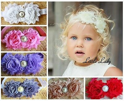 Christening Girl Baby Elastic Headband Flowers Roses Rhinestone Pearl Wedding