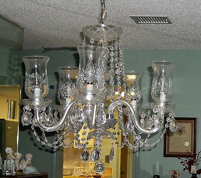etched hurricane shade electric  Crystal 5 arm Chandelier