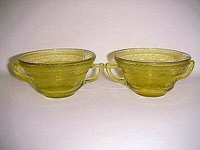 2 Amber Patrician / Spoke Cream Soup Bowls / Federal Glass Co.