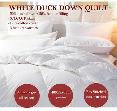 50% White Duck Down Quilt/Doona All Season Single/Double/Queen/King/Super King