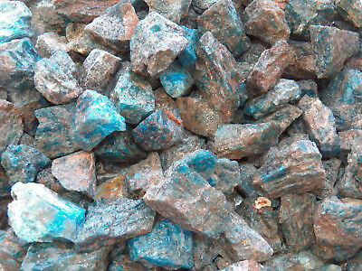 "2 LB BLUE APATITE  1"" Bulk Rough Tumbling Rock Stones 4500+ CARATS"