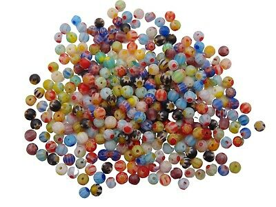 Quality Mixed Colour Round Millefiori Beads Flower Pattern 4mm , 6mm &  8mm