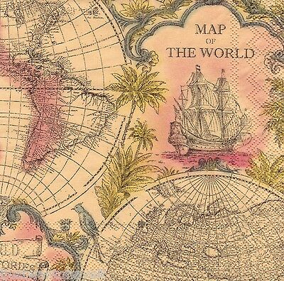 20 MAP OF the World PAPER NAPKINS #30705 Beverage - Crafts Decoupage ...