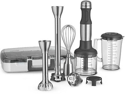 New All Metal KitchenAid 5-Speed Immersion Hand Blender&Attachments KHB2571SX