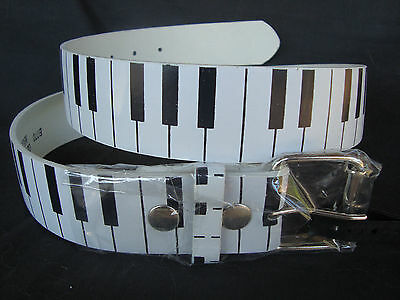 """PIANO Keyboard Leather Belt Sz XL 1.5""""W Silver Buckle Great MUSIC Gift Brand NEW"""
