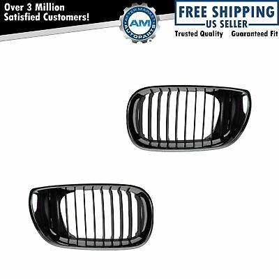 Upper Grille Grill Chrome & Black Pair Set NEW for 02-05 BMW 3 Series E46 4 Door
