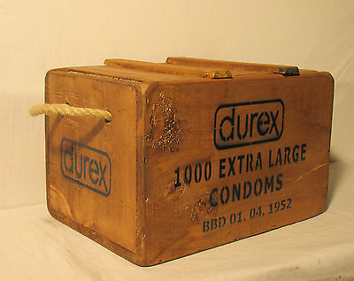 Vintage antiqued wooden box, crate,  Vintage Condom Chest