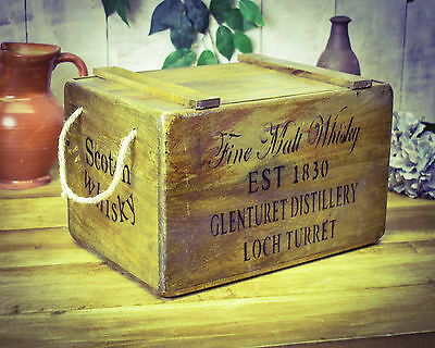 Vintage antiqued wooden box, crate,  Fine Malt Whisky Chest