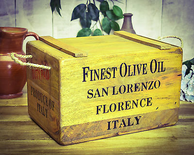 Vintage antiqued wooden box, crate,  Finest Olive Oil Chest