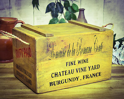 Vintage antiqued wooden box, crate,  French Wine Chest