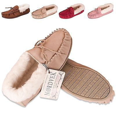 Nordvek Ladies Genuine Suede Moccasin Slippers Sheepskin Wool Hard Sole Womens