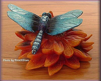 Blue Dragonfly Figure By Big Sky Carvers Stone Cast Free U.s. Shipping