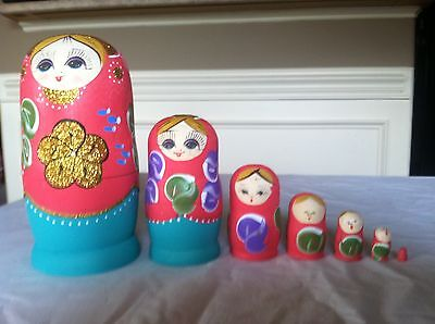 russian nesting doll Set Of 7 Hand made 7.5 inchs tall purple US Seller