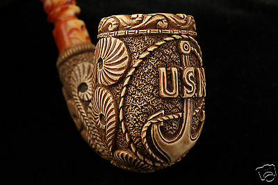 US Navy USN Special Finish Hand Made Block Meerschaum Pipe in fitted CASE 5256