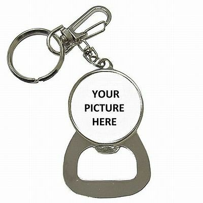 Custom Picture Photo Logo Personalized Key Chain Keyring Bottle Opener New!