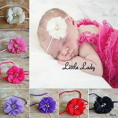 Luxury Baby Girl Headband Chiffon Flowers Rhinestone Pearl Christening Wedding