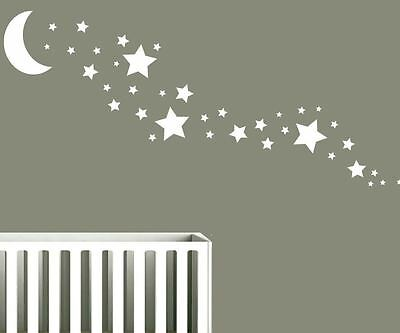 Solid Moon + 35 Star Wall Stickers Nursery Stars Art  *Any Colour*