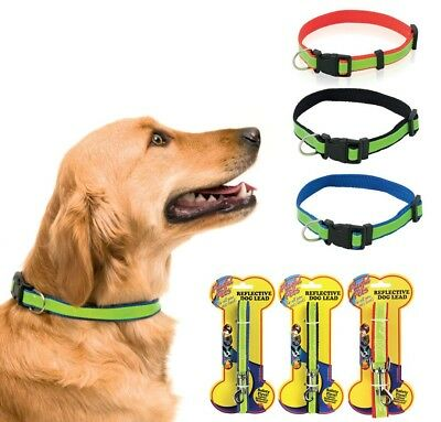 REFLECTIVE DOG COLLAR - AVAILABLE WITH LEAD Fluorescent Yellow Adjustable Safety