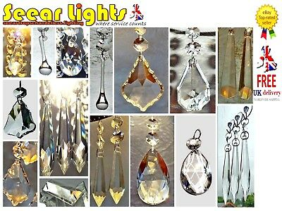 5 Chandelier Drops Droplets Prisms Antique Deco Look Crystals Glass Light Parts